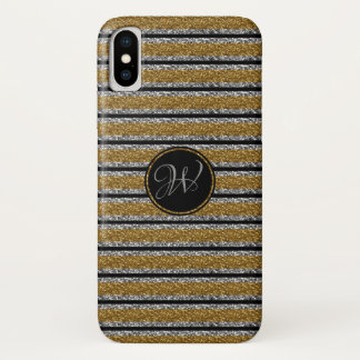 TRENDY SILVER GOLD  BLACK GLITTER WITH MONOGRAM iPhone X CASE