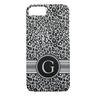Trendy Silver Leopard Pattern and Monogram iPhone 7 Case