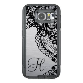 Trendy Silver with Black Lace & custom Monogram