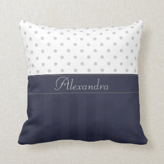 * Trendy Silvery Dots Over Dark Blue Stripes Throw Pillow