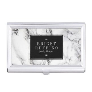 Trendy Simple Black And White Marble Stone Business Card Holder