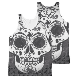 trendy Skull All-Over-Print Tank Top
