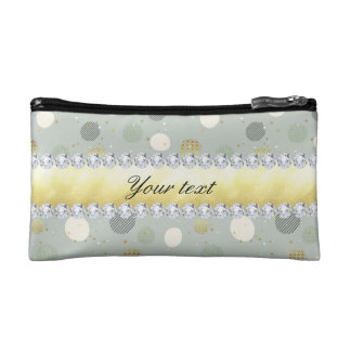 Trendy Snow Polka Dots Stars Diamonds Cosmetic Bag