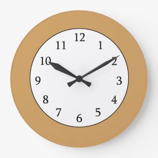 Trendy Solid Color Background | Gold Large Clock