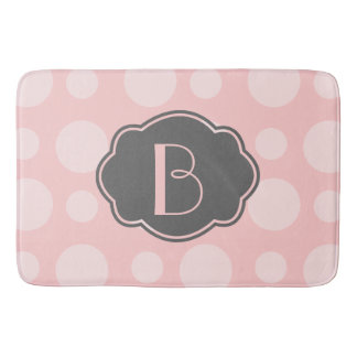 Trendy Spots, Pink & Grey, add your initial Bath Mat