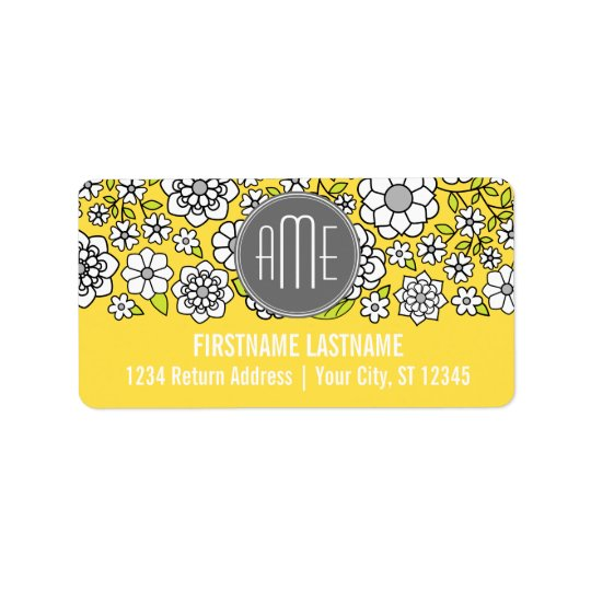 Trendy Spring Floral Illustration grey and yellow Label