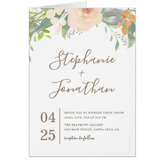 Trendy Spring Watercolor Flowers Wedding Card