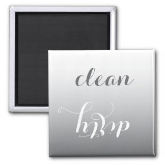 Trendy Steel Gray Clean or Dirty Dishwasher Magnet