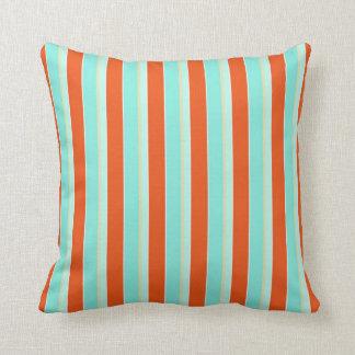 Trendy Stripe Aqua Blue and Tangerine Orange Throw Pillow