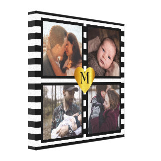 Trendy striped photo frames canvas print