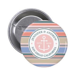 Trendy Stripes Monogram Anchor Pink Nautical Beach 2 Inch Round Button