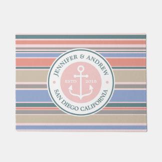 Trendy Stripes Monogram Anchor Pink Nautical Beach Doormat