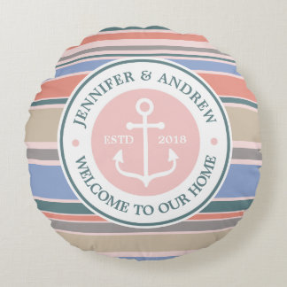 Trendy Stripes Monogram Anchor Pink Nautical Beach Round Pillow