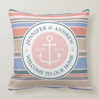 Trendy Stripes Monogram Anchor Pink Nautical Beach Throw Pillow