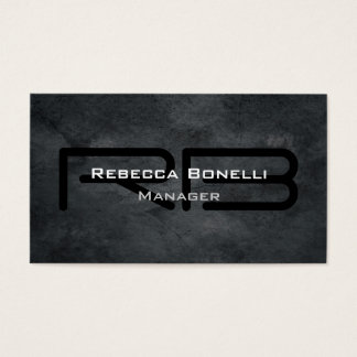 Trendy Style Gray Monogram Minimalist Plain Simple Business Card