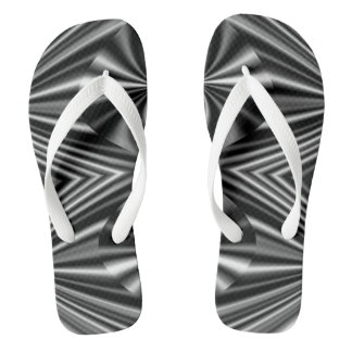 Trendy Stylish Black and White Pattern Flip Flops