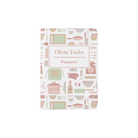 Trendy Stylish Kitchen Cooking Utensils Pattern Passport Holder