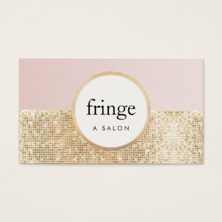 Trendy Stylish Pink and Gold Sequin Beauty Salon Business Card