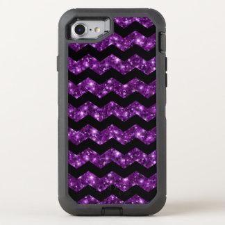 Trendy Stylish Purple Glitter Chevron OtterBox Defender iPhone 8/7 Case