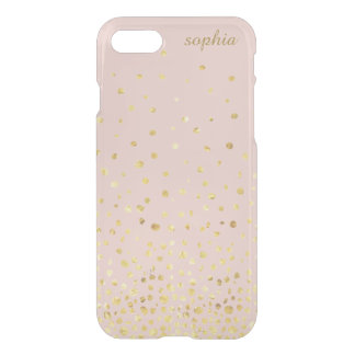 Trendy Stylish Rose Gold Confetti Dot Monogram iPhone 8/7 Case