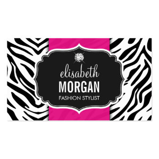 Trendy Stylish Zebra Print Diamond Girly Hot Pink Pack Of Standard Business Cards