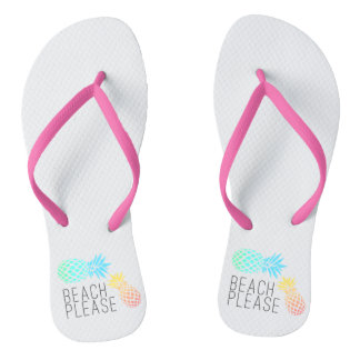 "trendy summer ""beach please"", colorful pineapple flip flops"
