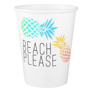 "trendy summer ""beach please"", colorful pineapple paper cup"
