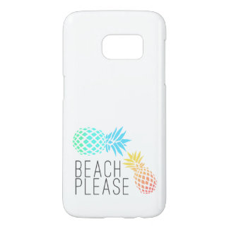"""trendy summer """"beach please"""", colorful pineapple samsung galaxy s7 case"""