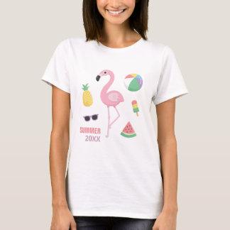 Trendy Summer Pink Flamingo Luau Girls Tee