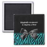 Trendy Teal And Black Zebra Print Boy Baby Shower Square Magnet