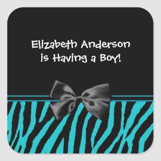 Trendy Teal And Black Zebra Print Boy Baby Shower Square Sticker