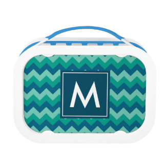 Trendy Teal and Blue Chevron Monogram Lunch Boxes