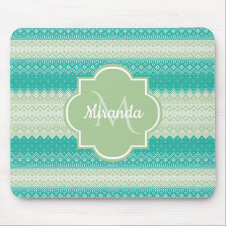 Trendy Teal and Light Green Knit Pattern and Name Mouse Pad