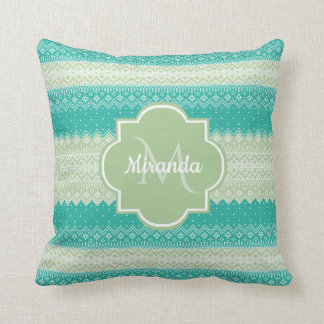 Trendy Teal and Light Green Knit Pattern and Name Throw Pillow