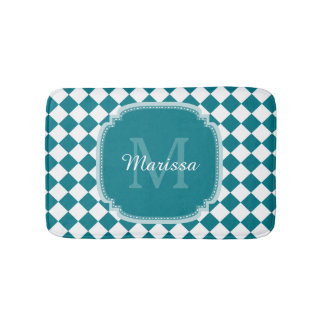 Trendy Teal and White Checked Monogrammed Name Bath Mat