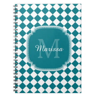 Trendy Teal and White Checked Monogrammed Name Note Book