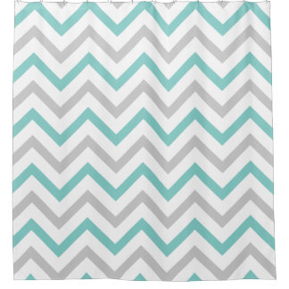 Trendy Teal Blue, Grey and White Chevron Pattern
