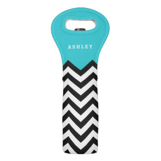 Trendy Teal Blue Modern Chevron Pattern Monogram Wine Bag