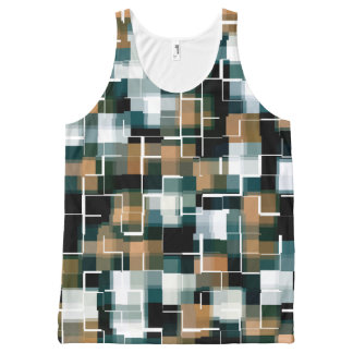 Trendy Teal Brown Black White Plaid All-Over-Print Tank Top