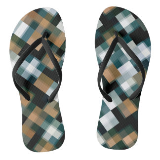 Trendy Teal Brown Black White Plaid Flip Flops