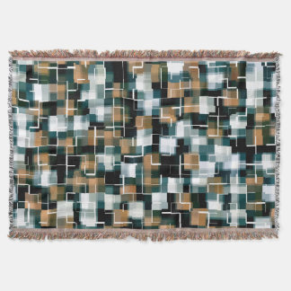 Trendy Teal Brown Black White Plaid Throw Blanket