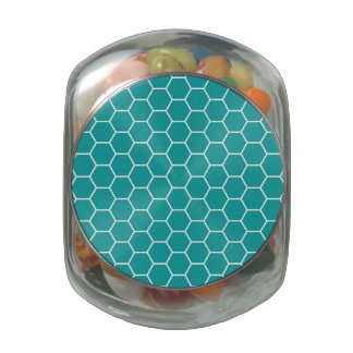 Trendy Teal Geometric Honeycomb Hexagon Pattern