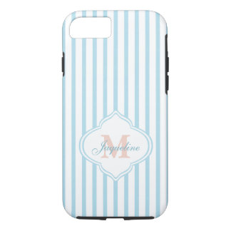 Trendy Teal Stripes with Monogram iPhone 8/7 Case
