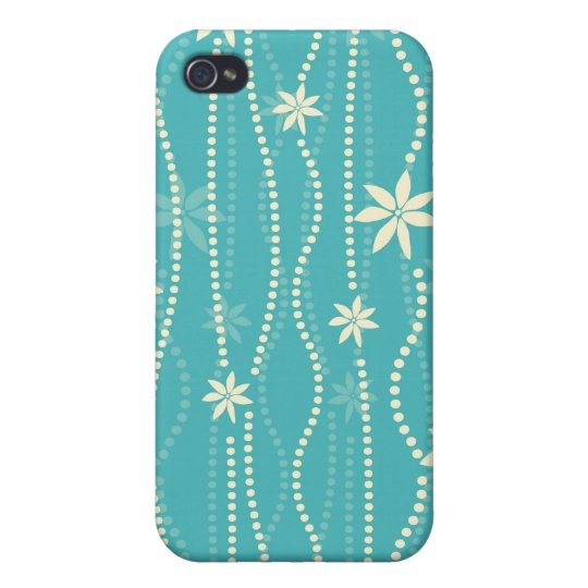 Trendy Teal Summer Flower Pattern iPhone 4/4S Case