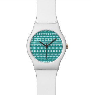 Trendy Teal Tribal Aztec Pattern Watch