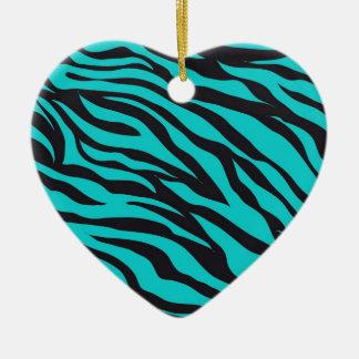 Trendy Teal Turquoise Black Zebra Stripes Ceramic Heart Ornament
