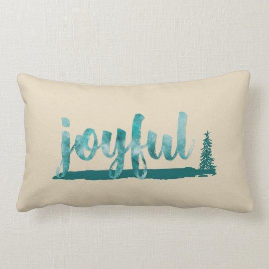 Trendy Teal Watercolor Joyful Brush Script Lumbar Pillow