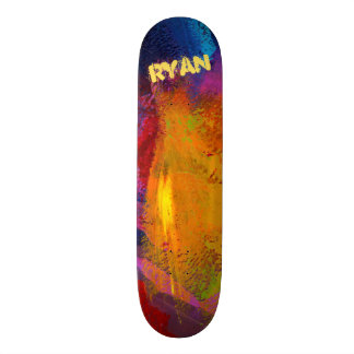 Trendy Textured Blue Red Black Gold Painted Skateboard Decks