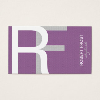 Trendy Textured Monogram  CHOOSE BACKGROUND COLOR Business Card