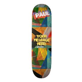 Trendy Textured Paint Green Yellow Blue Black Skateboards